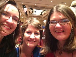 Tara Sue Me, Jennifer McQuiston, and Yours Truly take a selfie before the literacy signing. I do a lot of signings with these la