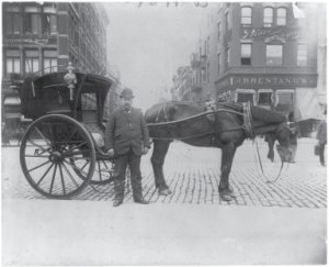Hansom Cab and Driver, 1896